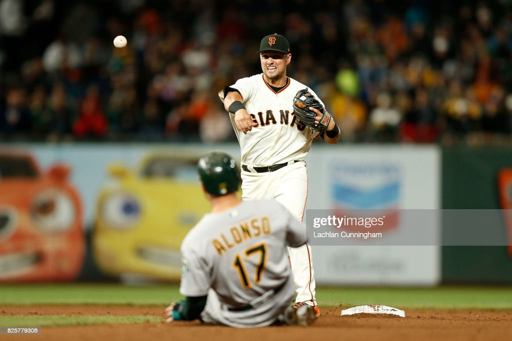 Joe Panik #12 of the San Francisco Giants gets the out of Yonder Alonso #17 of the Oakland Athletics at second base in the eighth inning of an interleague game at AT&T Park on August 2, 2017 in San Francisco, California.