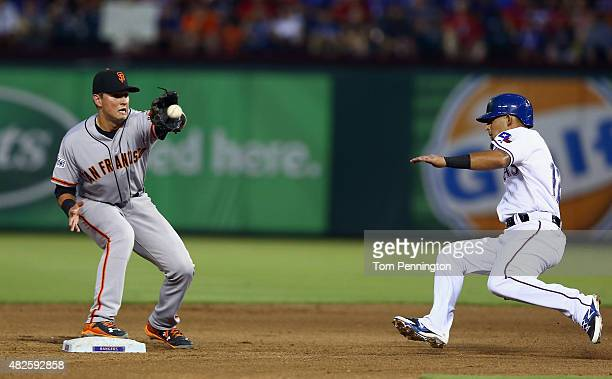 Joe Panik of the San Francisco Giants makes the tag out at second base against Rougned Odor of the Texas Rangers in the bottom of the fourth inning...