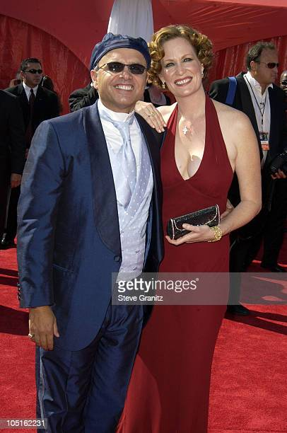 Joe Pantoliano and wife Nancy Sheppard during The 55th Annual Primetime Emmy Awards Arrivals at The Shrine Theater in Los Angeles California United...