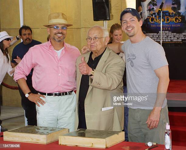 Joe Pantoliano Johnny Grant and Sean Hayes during Animals Get Paw Prints in Wet Cement at Warner Bros Premiere of 'Cats and Dogs' at Egyptian Theater...