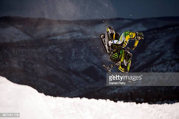 Joe Parsons competes during his first run in the snowmobile freestyle at Winter X Games 2016 Aspen at Buttermilk Mountain on January 29 in Aspen...