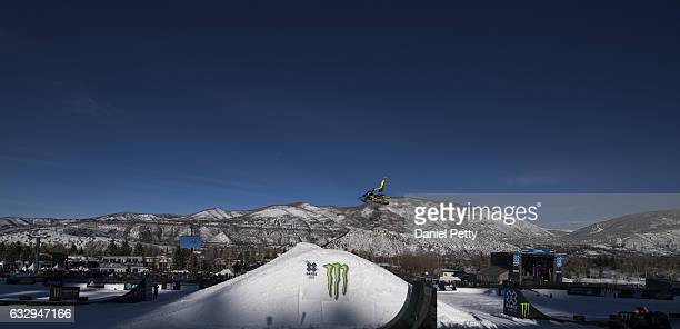 Joe Parsons competes in his second and final run of the snowmobile freestyle final during Day 3 of Winter X Games 2017 Aspen at Buttermilk Mountain...