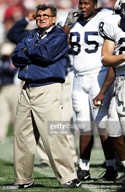 Joe Paterno, Head coach of Penn State, watches his team lose their fifth game in a row this season to Ohio State at Ohio Stadium on October 30, 2004...