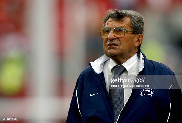 Joe Paterno head coach of the Penn State Nittany Lions looks on against the Ohio State Buckeyes on September 23 2006 in Columbus Ohio Ohio State won...