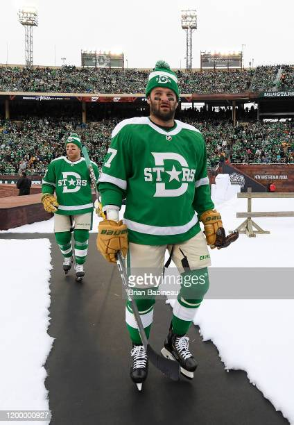Joe Pavelski and Alexander Radulov of the Dallas Stars walk back to the locker room after warmup prior to the 2020 NHL Winter Classic between the...