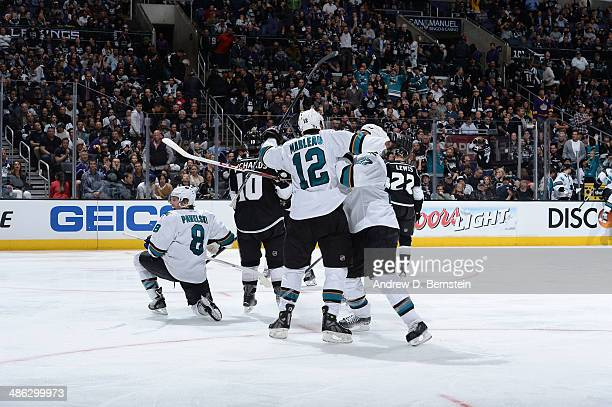 Joe Pavelski and Patrick Marleau of the San Jose Sharks celebrate their gamewinning goal against the Los Angeles Kings in Game Three of the First...