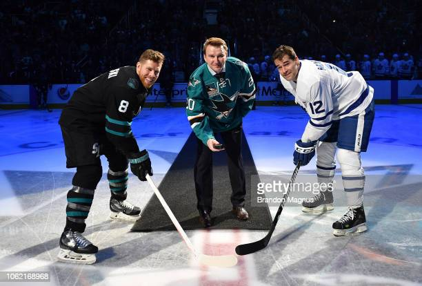 Joe Pavelski Evgeni Nabokov of the San Jose Sharks and Patrick Marleau of the Toronto Maple Leafs take the ceremonial puck drop at SAP Center on...