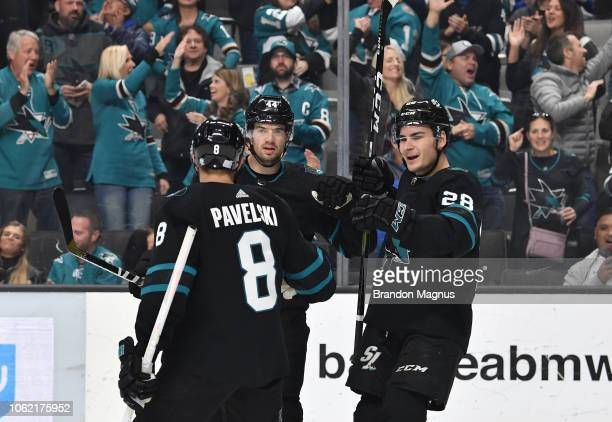 Joe Pavelski MarcEdouard Vlasic and Timo Meier of the San Jose Sharks celebrate a goal against the Toronto Maple Leafs at SAP Center on November 15...