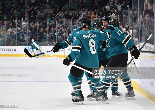 Joe Pavelski Marcus Sorensen and Joe Thornton of the San Jose Sharks celebrate scoring a goal against the Nashville Predators at SAP Center on...
