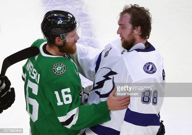 Joe Pavelski of the Dallas Stars and Andrei Vasilevskiy of the Tampa Bay Lightning shake hands following the Lightning's series-winning victory over...