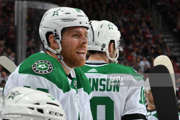 Joe Pavelski of the Dallas Stars looks on from the bench during second period action of the NHL hockey game against the Arizona Coyotes at Gila River...