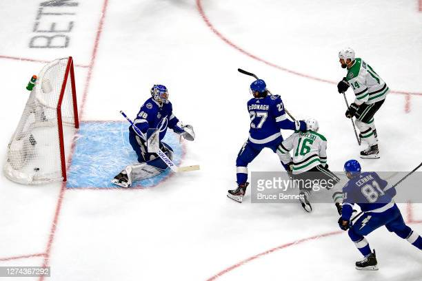 Joe Pavelski of the Dallas Stars scores a goal past Andrei Vasilevskiy of the Tampa Bay Lightning during the second period in Game Two of the 2020...