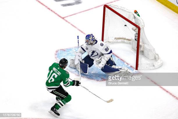 Joe Pavelski of the Dallas Stars scores a goal past Andrei Vasilevskiy of the Tampa Bay Lightning during the first period in Game Four of the 2020...
