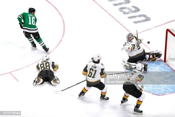 Joe Pavelski of the Dallas Stars scores a goal past Robin Lehner of the Vegas Golden Knights during the second period in Game Four of the Western...