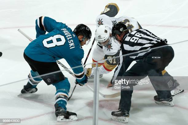 Joe Pavelski of the San Jose Sharks and PierreEdouard Bellemare of the Vegas Golden Knights faceoff in Game Six of the Western Conference Second...