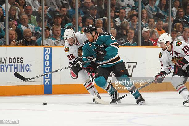 Joe Pavelski of the San Jose Sharks battles for the puck in Game One of the Western Conference Finals during the 2010 NHL Stanley Cup Playoffs...