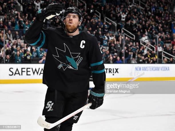 Joe Pavelski of the San Jose Sharks celebrates a goal against the Colorado Avalanche at SAP Center on March 1 2019 in San Jose California