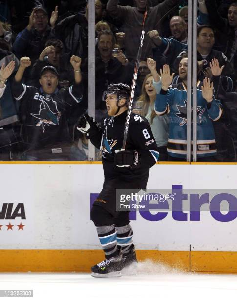 Joe Pavelski of the San Jose Sharks celebrates after he made a goal in the third period to tie their game against the Detroit Red Wings in Game One...