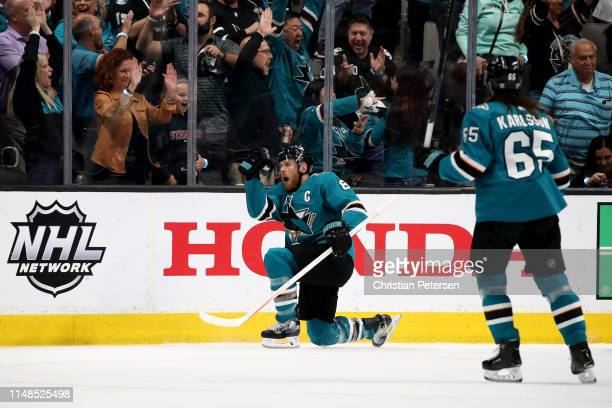 Joe Pavelski of the San Jose Sharks celebrates after scoring a goal on Jordan Binnington of the St Louis Blues during the first period in Game One of...