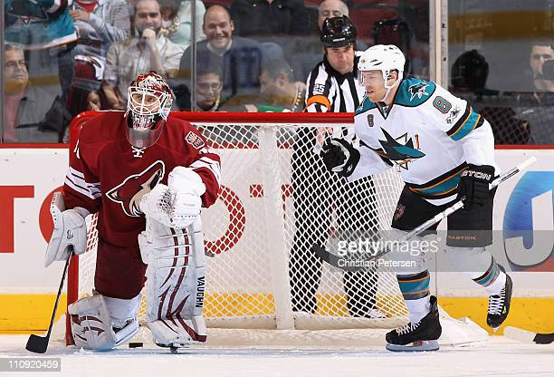 Joe Pavelski of the San Jose Sharks celebrates after scoring a second period goal against goaltender Ilya Bryzgalov of the Phoenix Coyotes during the...