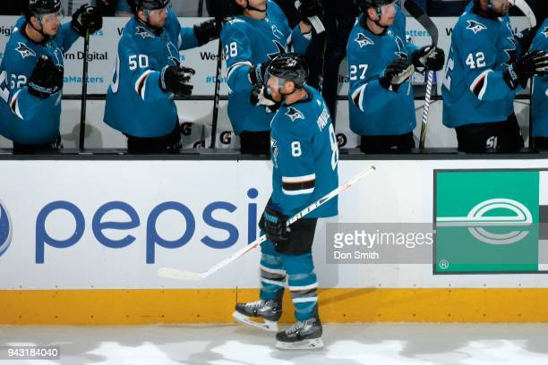 Joe Pavelski of the San Jose Sharks celebrates his first period goal against the Minnesota Wild with teammates at SAP Center on April 7 2018 in San...