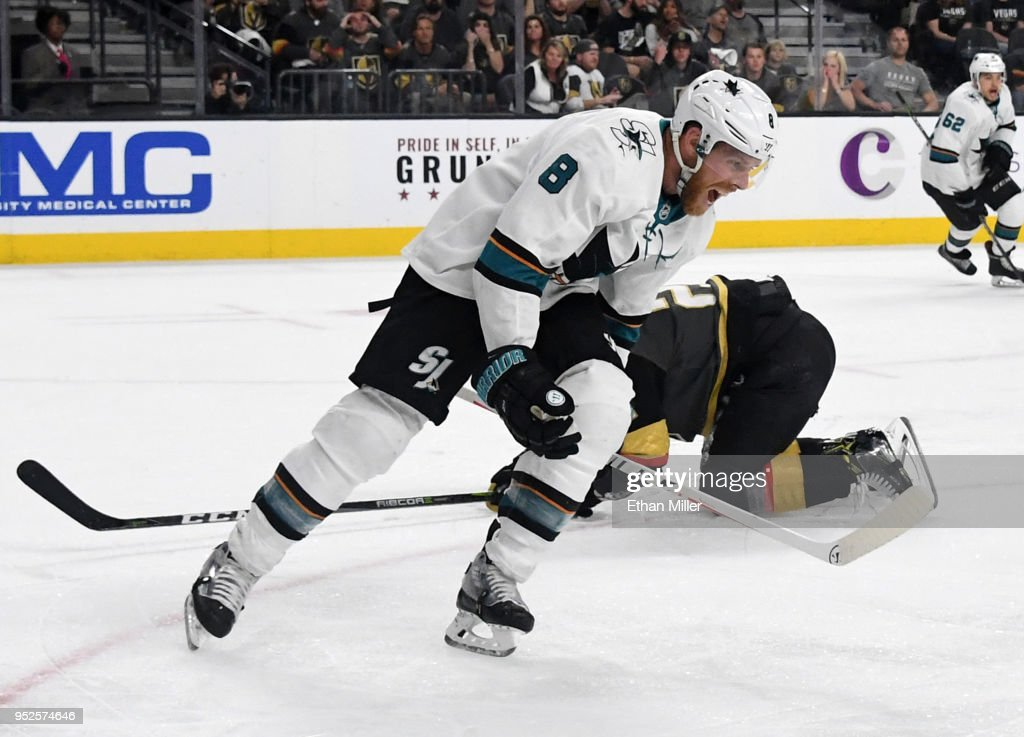 Joe Pavelski #8 of the San Jose Sharks celebrates in front of Cody Eakin #21 of the Vegas Golden Knights after Logan Couture #39 of the Sharks scored a power-play goal in the second overtime period to give the Sharks a 4-3 win in Game Two of the Western Conference Second Round during the 2018 NHL Stanley Cup Playoffs at T-Mobile Arena on April 28, 2018 in Las Vegas, Nevada.