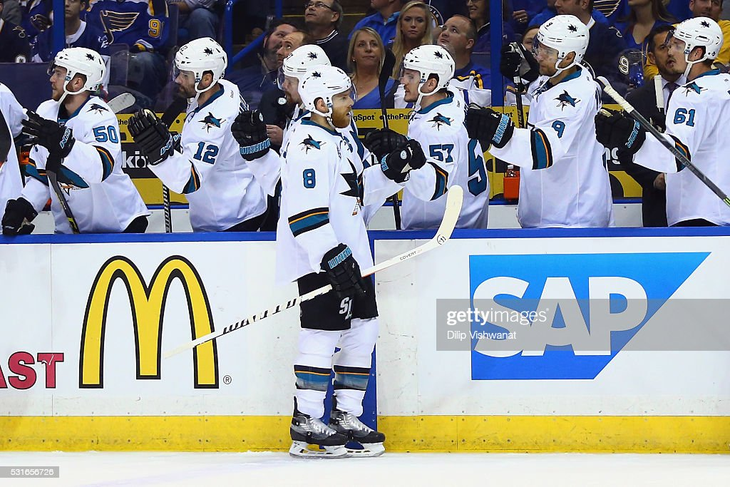 Joe Pavelski #8 of the San Jose Sharks celebrates with teammates after scoring a first period goal against Brian Elliott #1 of the St. Louis Blues (not pictured) in Game One of the Western Conference Final during the 2016 NHL Stanley Cup Playoffs at Scottrade Center on May 15, 2016 in St Louis, Missouri.