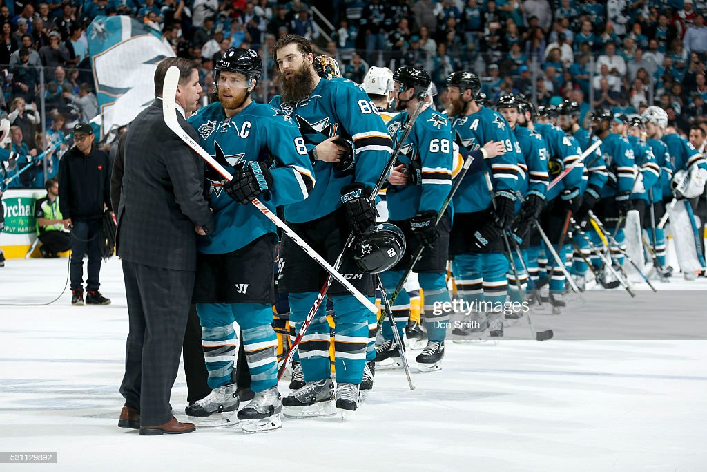 Joe Pavelski #8 of the San Jose Sharks exchanges words with head coach Peter Laviolette of the Nashville Predators in game seven of the Western Conference Second Round during the 2016 NHL Stanley Cup Playoffs at the SAP Center at San Jose on May 12, 2016 in San Jose, California.
