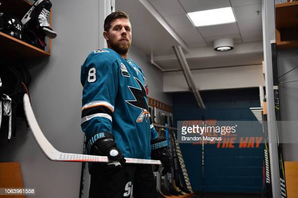 Joe Pavelski of the San Jose Sharks in the locker room before the game against the Edmonton Oilers at SAP Center on November 20 2018 in San Jose...