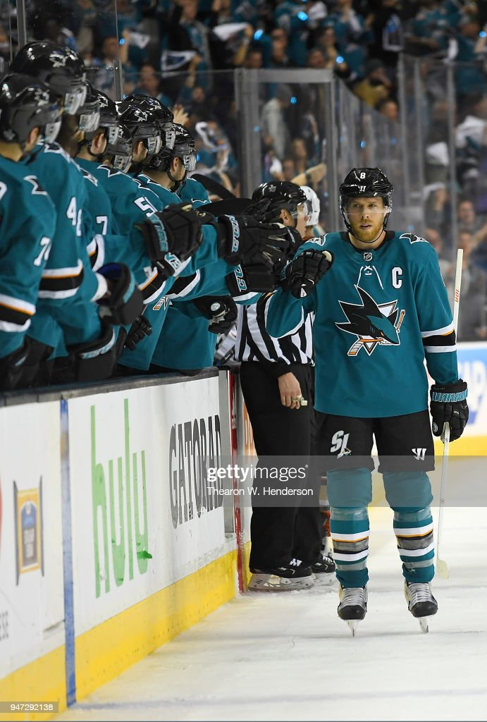 Joe Pavelski #8 of the San Jose Sharks is congratulated by teammates after he scored a goal against the Anaheim Ducks during the third period in Game Three of the Western Conference First Round during the 2018 NHL Stanley Cup Playoffs at SAP Center on April 16, 2018 in San Jose, California.