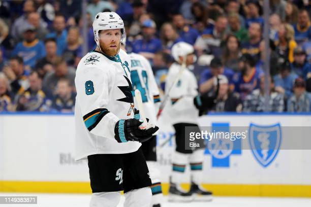 Joe Pavelski of the San Jose Sharks looks on against the St Louis Blues during the third period in Game Three of the Western Conference Finals during...
