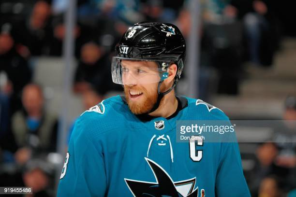 Joe Pavelski of the San Jose Sharks looks on during a NHL game against the Arizona Coyotes at SAP Center on February 13 2018 in San Jose California