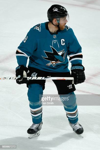 Joe Pavelski of the San Jose Sharks looks on during a NHL game against the Washington Capitols at SAP Center on March 10 2018 in San Jose California