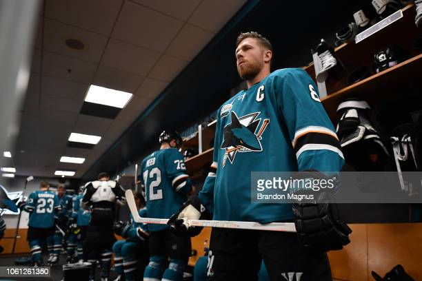 Joe Pavelski of the San Jose Sharks prepares for pregame skate in the locker room before taking the ice against the Nashville Predators at SAP Center...