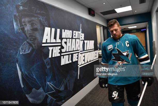 Joe Pavelski of the San Jose Sharks prepares to take the ice for warmups against the New Jersey Devils at SAP Center on December 10 2018 in San Jose...