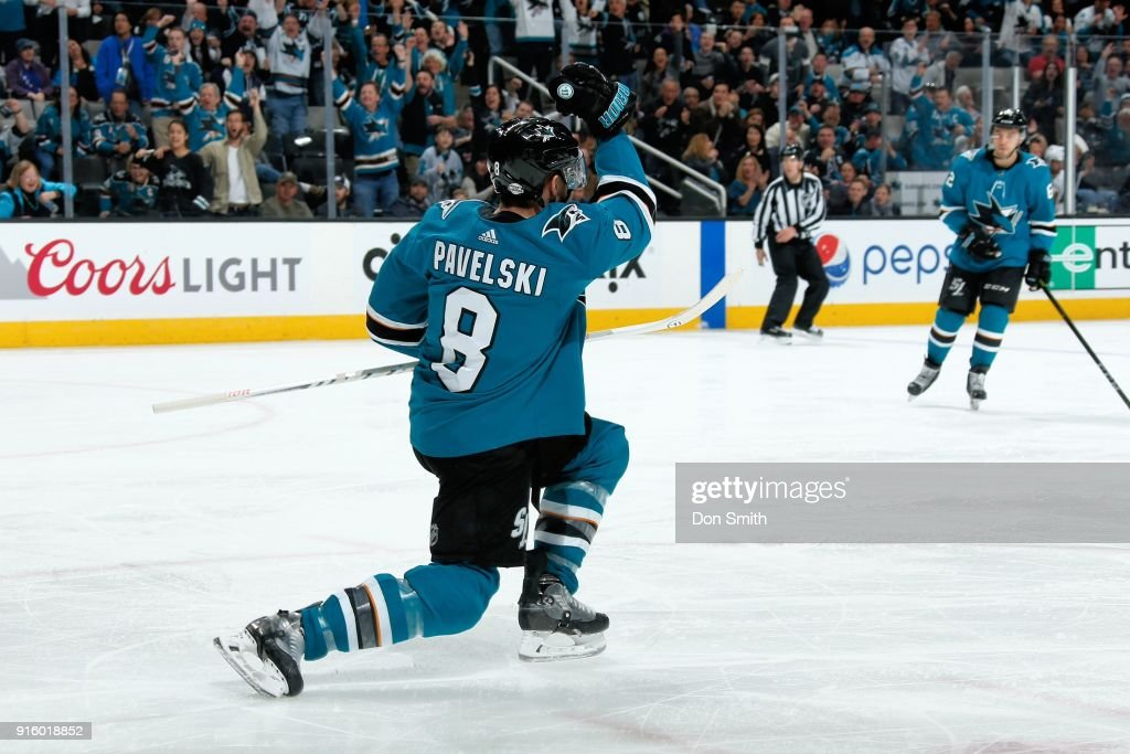 Joe Pavelski #8 of the San Jose Sharks reacts after scoring in the third period against the Vegas Golden Knights at SAP Center on February 8, 2018 in San Jose, California.