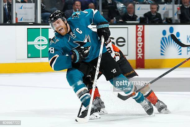 Joe Pavelski of the San Jose Sharks reacts during a NHL game against the Anaheim Ducks at SAP Center at San Jose on November 26, 2016 in San Jose,...