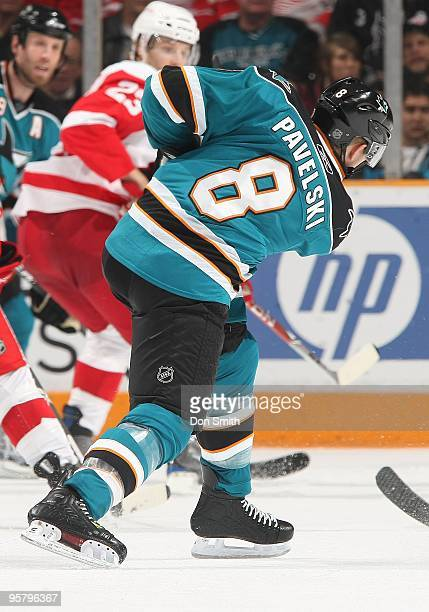Joe Pavelski of the San Jose Sharks rifles a shot during an NHL game against the Detroit Red Wings on January 9, 2010 at HP Pavilion at San Jose in...