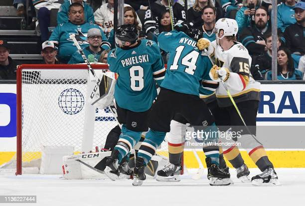 Joe Pavelski of the San Jose Sharks scores a goal off his face against the Vegas Golden Knights during the first period in Game One of the Western...
