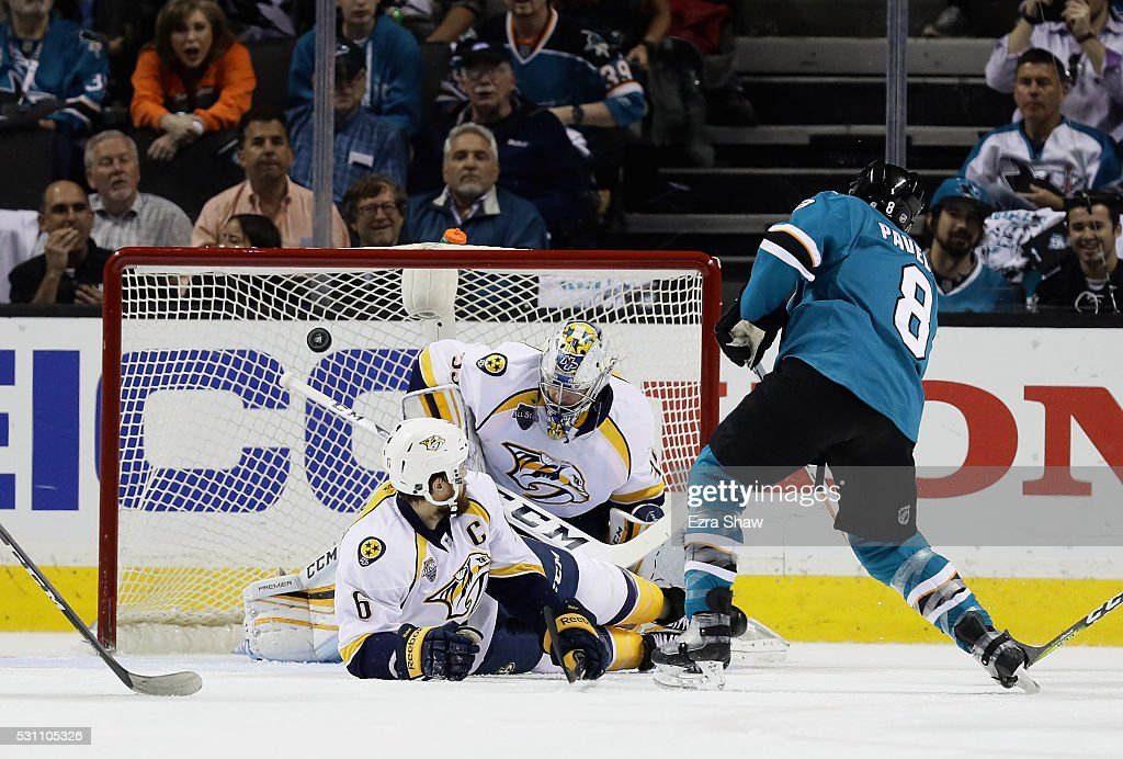 Joe Pavelski #8 of the San Jose Sharks scores a goal past Shea Weber #6 and goalie Pekka Rinne #35 of the Nashville Predators in the first period of Game Seven of the Western Conference Second Round during the 2016 NHL Stanley Cup Playoffs at SAP Center on May 12, 2016 in San Jose, California.