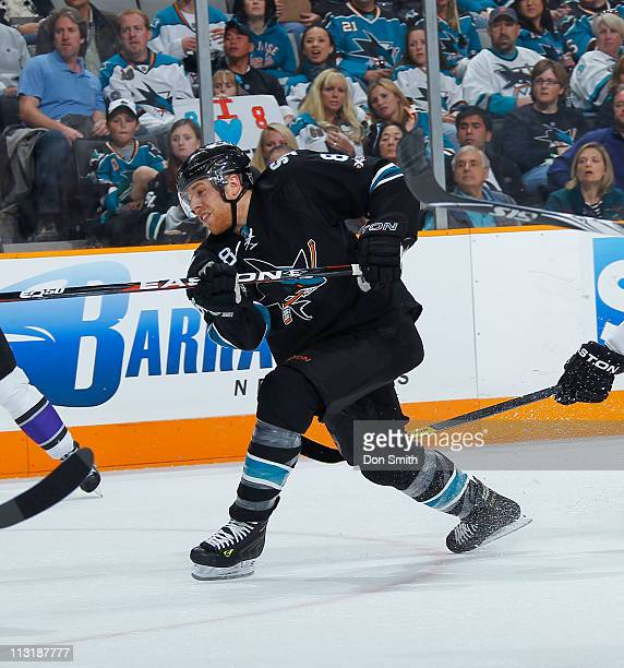 Joe Pavelski of the San Jose Sharks shoots the puck against the Los Angeles Kings in Game 5 of the Western Conference Quarterfinals during the NHL...