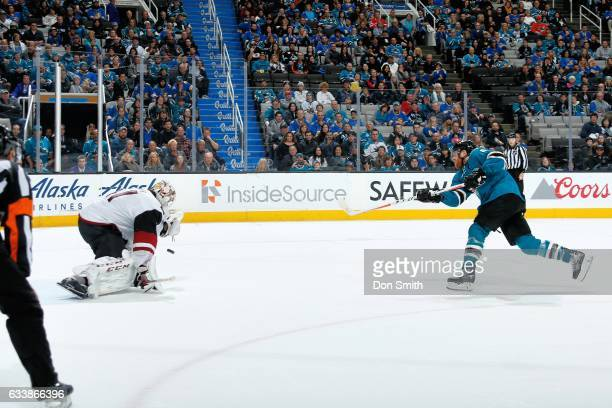 Joe Pavelski of the San Jose Sharks shoots the puck during a shoot out against the Arizona Coyotes at SAP Center at San Jose on February 4 2017 in...