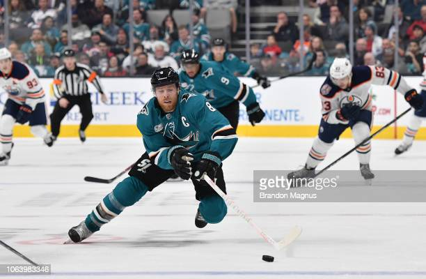 Joe Pavelski of the San Jose Sharks skates after the puck against the Edmonton Oilers at SAP Center on November 20 2018 in San Jose California