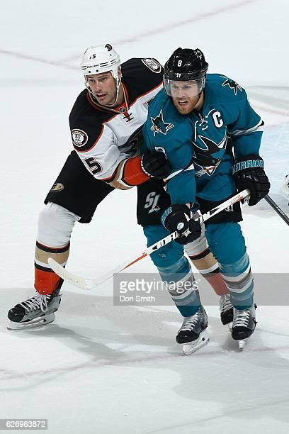 Joe Pavelski of the San Jose Sharks skates against Ryan Getzlaf of the Anaheim Ducks during a NHL game at SAP Center at San Jose on November 26, 2016...