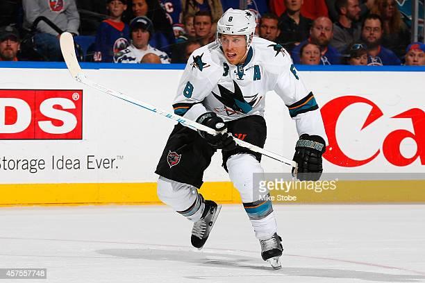 Joe Pavelski of the San Jose Sharks skates against the New York Islanders at Nassau Veterans Memorial Coliseum on October 16 2014 in Uniondale New...