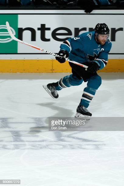 Joe Pavelski of the San Jose Sharks skates during a NHL game against the Washington Capitols at SAP Center on March 10 2018 in San Jose California