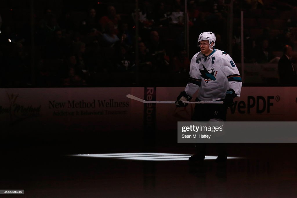 Joe Pavelski #8 of the San Jose Sharks skates in warm-ups prior to the game against the Anaheim Ducks at Honda Center on December 4, 2015 in Anaheim, California.