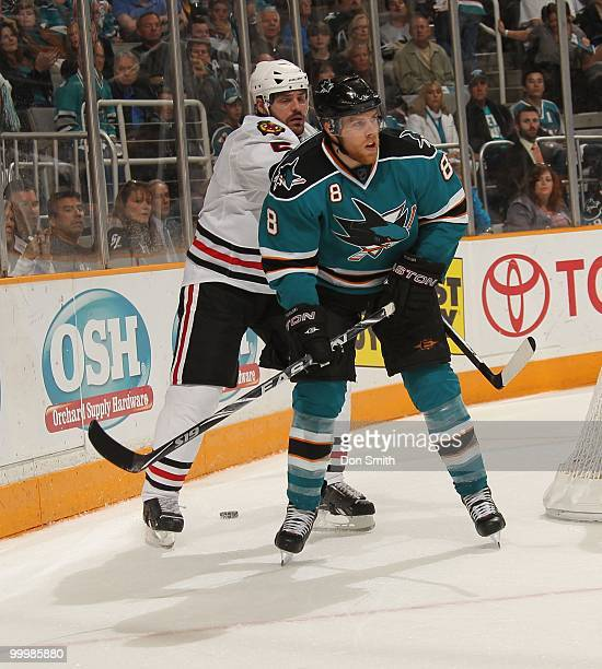 Joe Pavelski of the San Jose Sharks skates off a hit in Game One of the Western Conference Finals during the 2010 NHL Stanley Cup Playoffs against...