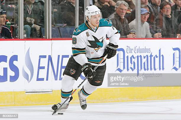 Joe Pavelski of the San Jose Sharks skates with the puck against the Columbus Blue Jackets on February 27, 2008 at Nationwide Arena in Columbus, Ohio.