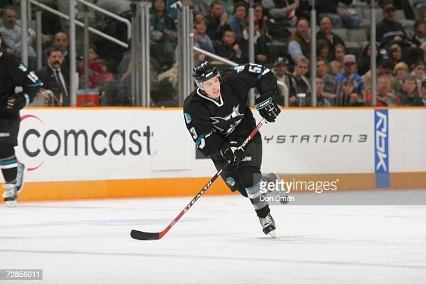 Joe Pavelski of the San Jose Sharks skates with the puck during a game against the Los Angeles Kings on December 14 2006 at the HP Pavilion in San...
